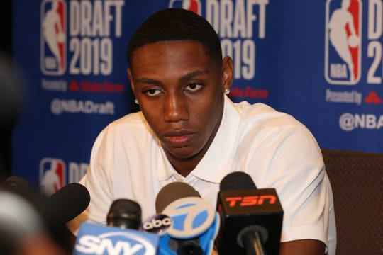 Jun 19, 2019; New York, NY, USA; RJ Barrett of Duke speaks to the media during a 2019 NBA Draft draft prospects press conference at the Grand Hyatt. Mandatory Credit: Brad Penner-USA TODAY Sports