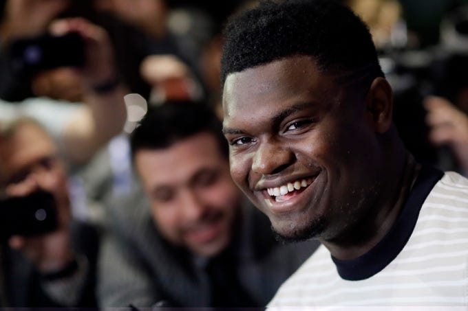 Zion Williamson, a freshman from Duke, attends the NBA Draft media availability, Wednesday, June 19, 2019 in New York. The basketball draft will be held Thursday, June 20. (AP Photo/Mark Lennihan)