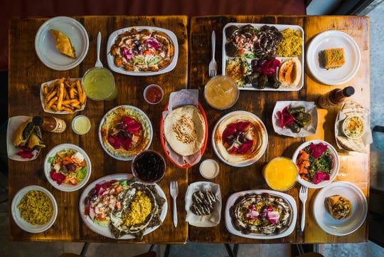 A selection of dishes at Mamoun's Falafel.