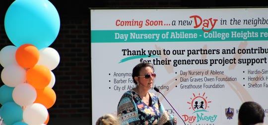 Cynthia Pearson, director of Day Nursery of Abilene, speaks at Wednesday's announcement of a fourth location, at the former College Heights Elementary School that closed in 2012.