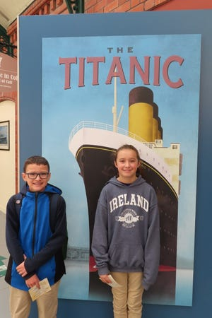 While visiting the Titanic exhibit in the Cobh Heritage Centre, Jonah Whitaker and Lyric Fisher received tickets for passengers Denis Lennon and Mary Mullin.
