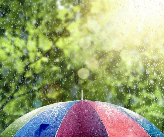 Summer rain on colorful umbrella 3D Rendering
