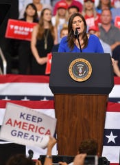 Sarah Huckabee Sanders speaks during Tuesday's rally at the Amway Center in Orlando.