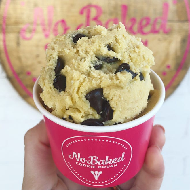 A scoop of cookie dough from No Baked Cookie Dough shop