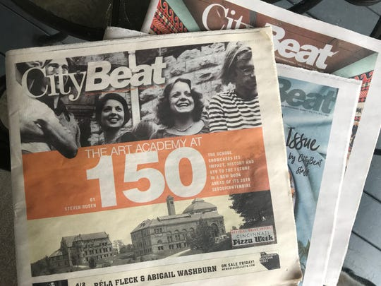 Copies of CityBeat, a weekly alternative newspaper in Cincinnati.