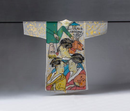 This kimono by Jean-Charles de Castel bajac is one of the items on display at the Cincinnati Art Museum as Kimono: Refashioning Contemporary Style opens.