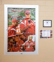 A poster honors Ed Thomas, who was killed June 24, 2009, in a shed at Aplington-Parkersburg High School.