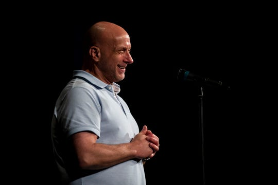 Ryan Siskow tells his coming home story during the Des Moines Storytellers Project: On Second Thoughtevent Tuesday, June 18, 2019, at Hoyt Sherman Place in Des Moines.
