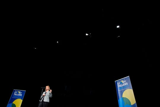 Patti Wachtendorf, the first female warden of the Iowa State Penitentiary, talks about her career and what she learned, during the Des Moines Storytellers Project's On Second Thought event on Tuesday, June 18, 2019, at Hoyt Sherman Place in Des Moines.