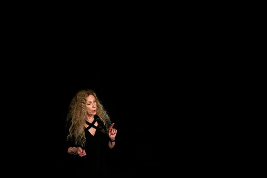 Sheree Clark talks about the lessons she learned about food and her lifestyle choices during the Des Moines Storytellers Project: On Second Thoughtevent Tuesday, June 18, 2019, at Hoyt Sherman Place in Des Moines.