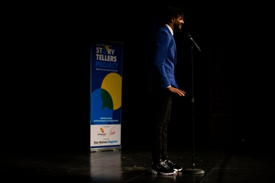 Kylique Lipscombe tells his story of perseverance during the Des Moines Storytellers Project's On Second Thought event on Tuesday, June 18, 2019, at Hoyt Sherman Place in Des Moines.