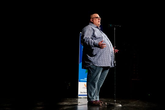 Andy Wilson shares his story about finding a way to heal Tuesday, June 18, 2019, during the Des Moines Storytellers Project: On Second Thought event at Hoyt Sherman Place in Des Moines.