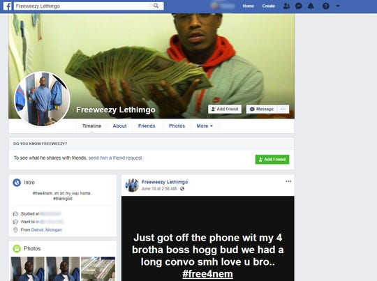 "A screen grab of the Facebook page for ""Freeweezy Lethimgo."""