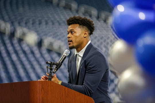 Detroit Lions Jamal Agnew speaks, during the Detroit Lions Academy 8th grade graduation held at Ford Field in Detroit on Wednesday, June 19, 2019.