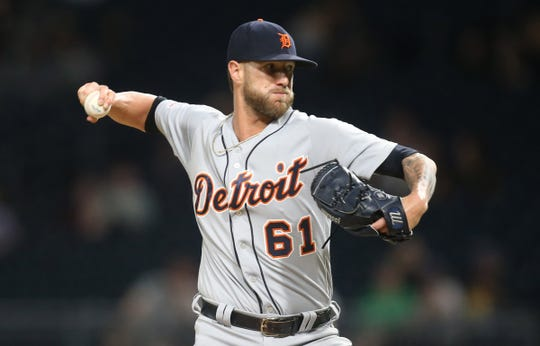 Tigers relief pitcher Shane Greene pitches during the ninth inning of the Tigers' 5-4 win on Tuesday, June 18, 2019, in Pittsburgh.