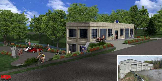 A rendering of the proposed rehabilitation of the century-old Wilcox mill near Hines Park.