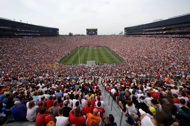 Real Madrid plays Manchester United during a match at Michigan Stadium in 2014.