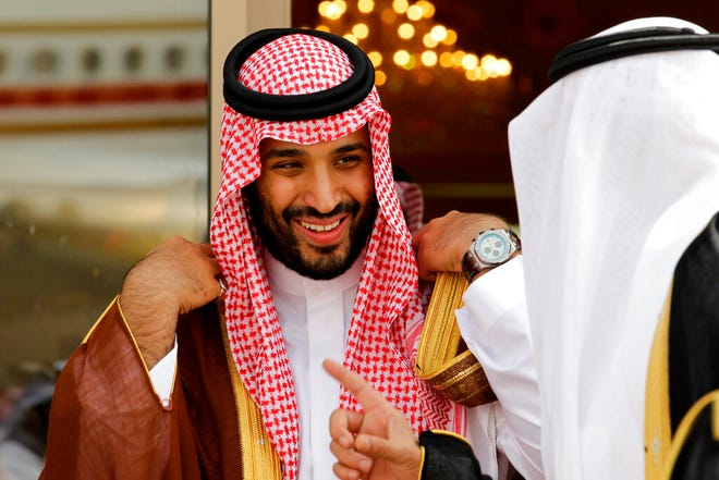 "In this May 14, 2012 file photo, Prince Mohammed bin Salman speaks with a Saudi prince in Riyadh, Saudi Arabia.  An independent U.N. human rights expert investigating the killing of Saudi journalist Jamal Khashoggi on Wednesday June 19, 2019, recommended an investigation into the possible role of bin Salman, citing ""credible evidence."""