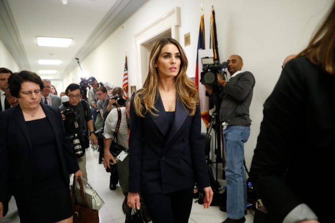 Former White House communications director Hope Hicks is seen leaving a closed-door interview with the House Judiciary Committee of a lunch break, at the Capitol in Washington, Wednesday, June 19, 2019.