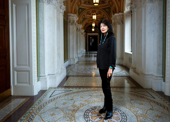 Joy Harjo poses inside the Library of Congress, in Washington. Harjo has been named the country's next poet laureate, becoming the first Native American to hold that position.