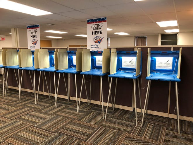 Voting booths stand ready in downtown Minneapolis.