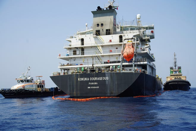 The damaged Panama-flagged, Japanese owned oil tanker Kokuka Courageous is anchored off Fujairah, United Arab Emirates, Wednesday, June 19, 2019.