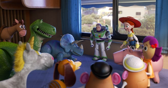 """In Disney and Pixar's """"Toy Story 4,"""" Buzz, Jessie and the rest of Bonnie's toys concoct a plan to find their friends when Woody and Forky go missing."""