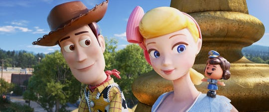Bo Peep introduces Woody to her best friend Giggle McDimples.