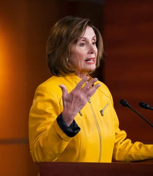 Speaker of the House Nancy Pelosi, D-Calif., reflects on President Donald Trump's statement that he would accept assistance from a foreign power, saying it's so against any sense of decency, during a news conference in Washington, Thursday, June 13, 2019. Pelosi says she wouldn't have the House try to censure President Donald Trump if Democrats are able to find evidence that could support impeachment.