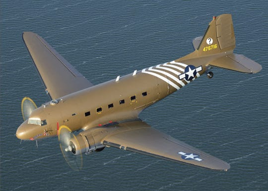 A C-47 Skytrain - Hairless Joe, one of the vintage World War II planes that will be doing a flyover of the Detroit River ahead of the Ford Fireworks.