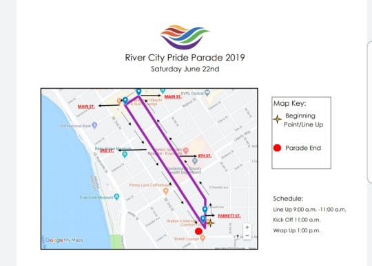 The parade route for River City Pride Parade 2019.