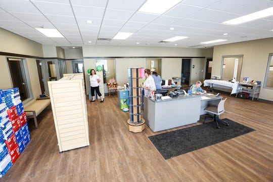 A spacious lobby houses workers and greets guests Wednesday June 19, 2019 at the new Fond du Lac Humane Society in Fond du Lac, Wis. The new humane society opened right next door to the old building on Triangle Road, which is set for demolition.  Doug Raflik/USA TODAY NETWORK-Wisconsin
