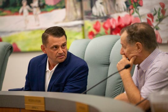 Bonita Springs Mayor Peter Simmons, left, and City Council member Peter O'Flinn during a city council meeting, Wednesday, June 19, 2019, at Bonita Springs City Hall.