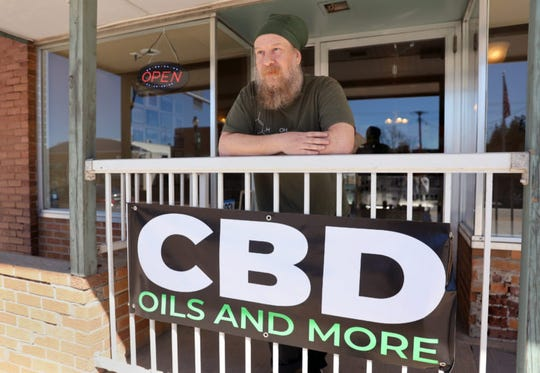 Tim Murphy runs the Kickapoo Kind CBD and hemp shop in Viroqua, Wis., with his wife, Noelle Kehoe. They established Kickapoo Kind in July 2018 and moved to a new larger location on Main Street nine months later. Acceptance of cannabis and products containing it has grown in recent years as states have legalized it for medicinal and recreational use. CBD, or cannabidiol, is legal in Wisconsin, but marijuana remains illegal. Photo taken April 19, 2019.
