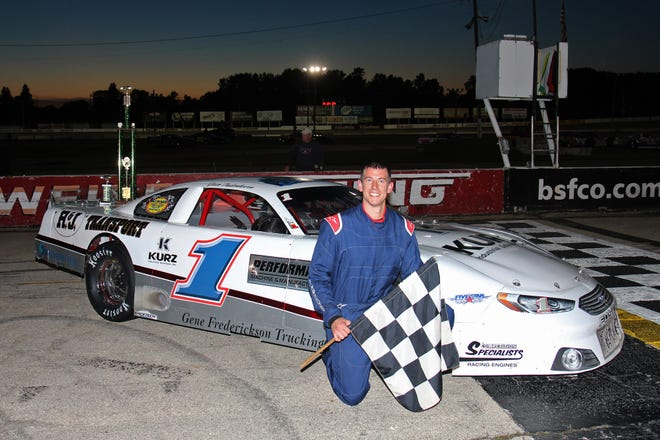 """Jesse Oudenhoven pulled off an upset last Thursday, beating NASCAR Xfinity driver Ty Majeski to win """"The Red Race"""" at Wisconsin International Raceway. Oudenhoven holds a slim lead in the Fox River Racing Club super late model point standings."""