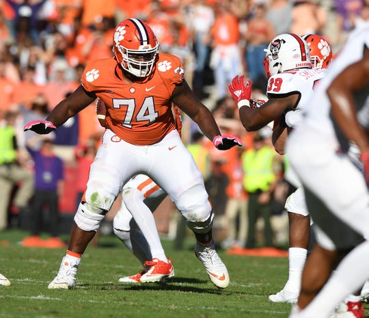 Clemson offensive guard John Simpson (74) plays against NC State during the 2nd quarter Saturday, October 20, 2018 at Clemson's Memorial Stadium.
