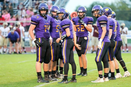 The Guerin Catholic offense looks for the next play from the sideline during the first half vs. Brebeuf Jesuit, October 5, 2018.