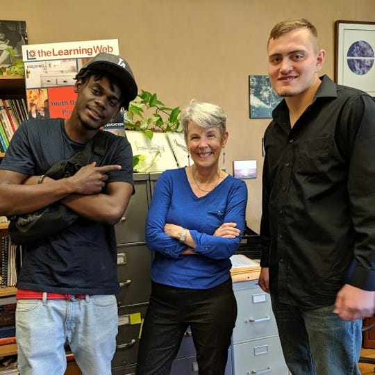 Don Madard (left) and Chuck Stillwell (right) are youths in the Learning Web's Life Skills program. Sally Schwartzbach is the Learning Web's associate director.