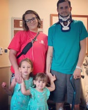Shannon and Justin Duett  were severely injured during an April 13, 2019, tornado. Their daughters, Peyton and Sophie, whom they shielded, escaped with minor injuries.