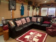 "Brandy Stokes, a 1994 graduate of Mississippi State University, has an MSU-themed ""man cave"" in her home in Philadelphia, Mississippi."