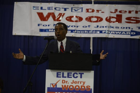Dr. Jerry Woods speaks after the election results are announced. Woods received 3,058 less votes than his opponent Scott Conger but did concede during the speech at the Jackson Fairgrounds on June 18 in Jackson, Tenn.