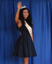Miss Greater Weakly County Kailey Duffy waves to the crowd during The Miss Tennessee Volunteer Scholarship Pageant Meet-and-Greet, Sunday, June 16. The contestants, along with their Iris Princesses, signed autographs for members of the public.