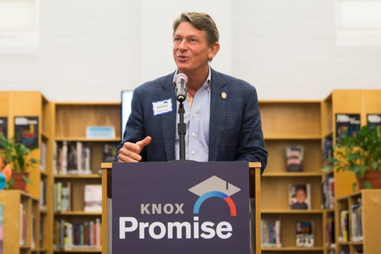 Interim UT System President Randy Boyd speaks at the announcement of Knox Promise at Fulton High School in Knoxville, Wednesday, June 19, 2019. Knox Promise is a scholarship program that will address additional needs beyond tuition by providing a textbook stipend, a completion coach, and additional grants for unexpected financial burdens.