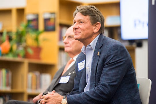 Interim UT System President Randy Boyd is seen at the announcement of Knox Promise at Fulton High School in Knoxville, Wednesday, June 19, 2019. Knox Promise is a scholarship program that will address additional needs beyond tuition by providing a textbook stipend, a completion coach, and additional grants for unexpected financial burdens.
