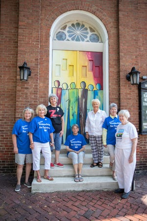 A group of women who fought for the passage of a Fairness Ordinance in Henderson pose at the front doors of Zion United Church of Christ recently. They are from left to right; Jayme Fruit, Lou Mahon, Pam Johnson, John Hoffman, Glenda Guess, Phyllis Ward and Cindy Evans.