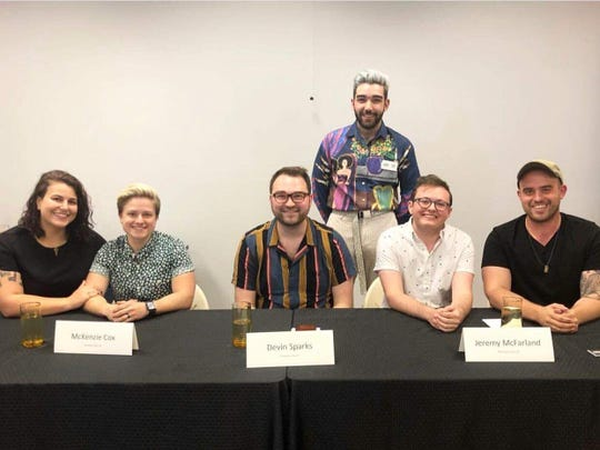 Panelists and the organizer of the Pride Panel at the Taylor County library in Campbellsville.