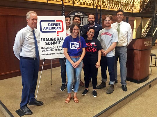 Mayor Greg Fischer met with a group of students from University of Louisville's Define American chapter on Tuesday, June 18.