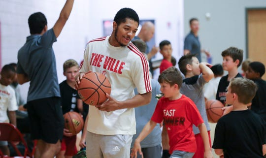 Louisville graduate transfer Fresh Kimble greeted campers during the Chris Mack Basketball Camp on U of L's campus.  