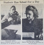 Photo appearing in the Manitowoc Herald Times on May 4, 1938, depicting students who took on administration offices for a day.