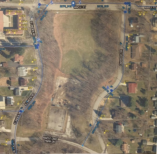 An overhead view of a portion of Maple Lake park, where a skate park may be constructed.